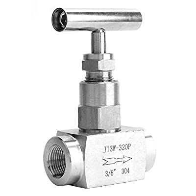 """Stainless Steel Needle Valve? BSPP Female Thread High Pressure Needle Control Valve? Straight Needle Valve, for Water Transmission, 1/4in, 3/8in, 1/2in (Optional)(3/8"""") by Acogedor"""