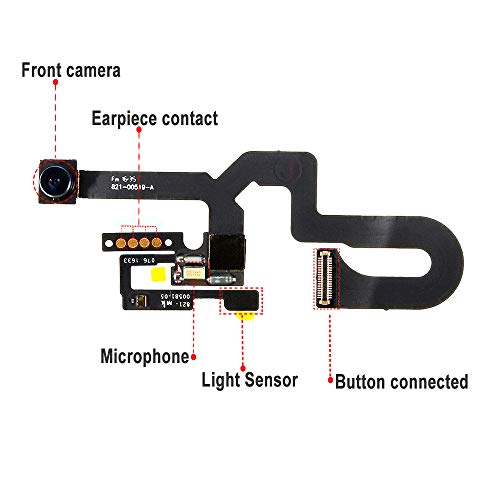 Johncase New OEM 7MP Front Facing Camera Module w/Proximity Sensor + Microphone Flex Cable Replacement Part Compatible for iPhone 7 Plus (All Carriers)