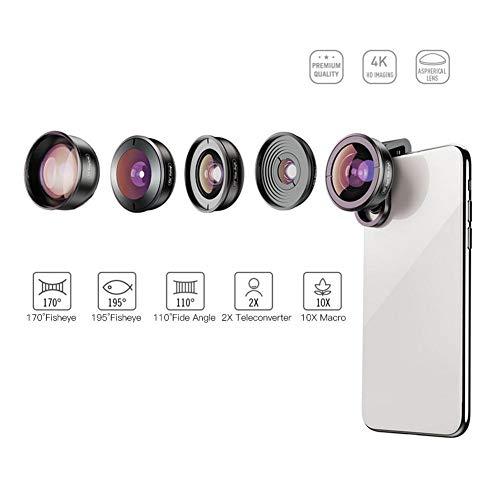 Telefooncamera objectief, 5 in 1 draagbare 170 ° fisheye-lens, 195 ° fisheye-lens, 110 ° groothoeklens, 2-voudige zoom tele-converter-lens, 10-voudige macrolens kit met clip voor mobiele telefoon
