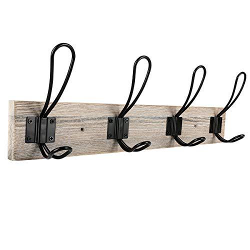 Wall Mounted Coat Rack,Sageme Wooden Entryway Vintage Rustic Coat Rack Hat Hanger Rack Zinc die-cast 4-Hook Rail for The Entryway, Bathroom, Bedroom, Kitchen, Mudroom Pinewood Alloy 4-Hook