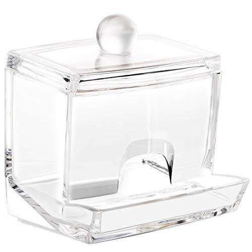 Luxspire Q-Tip Contenitore Cotton fioc Acrilico, Dispenser Temponi di Cotone Scatola Portaoggetti con Coperchio in Plastica per Cosmetici Trasparente