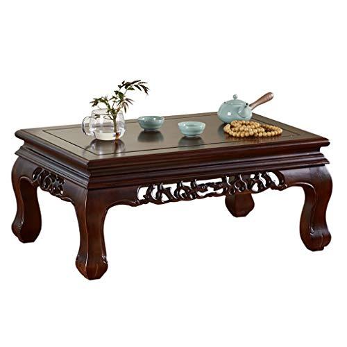 Tables Lit d'étude Basse Tatami Salon en Bois Massif Basse Balcon Baie vitrée à thé Antique Basses (Color : Black, Size : 55 * 35 * 31cm)