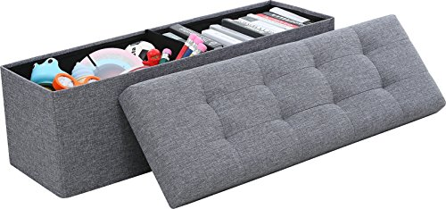 """Ornavo Home Foldable Tufted Linen Large Storage Ottoman Bench Foot Rest Stool/Seat - 15"""" x 45"""" x 15"""" (Grey)"""