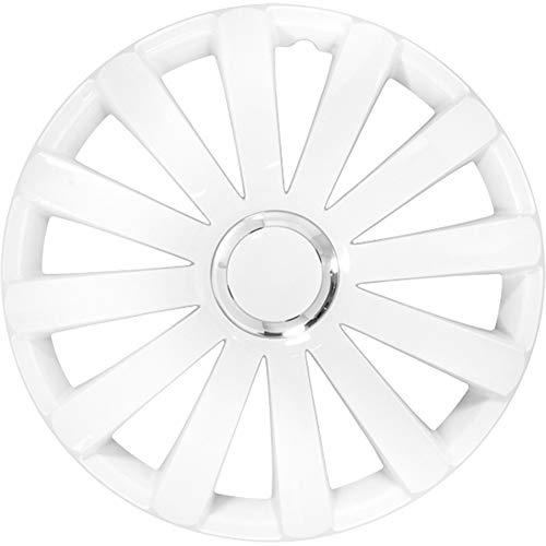 AUTOSTYLE Jeu d'enjoliveurs Spyder 15-inch blanc + anneau chromé