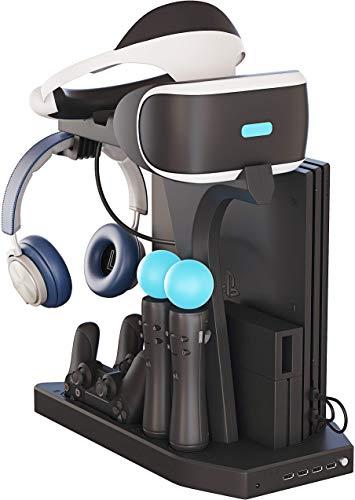 Vertikaler Multifunktionsständer für PS4 / Slim / Pro, PSVR1 / 2, Ladestation, Lüfterkühler, Kopfhöreraufbewahrung, Ladestation, Dockingstation, DualShock 4 Controller, 4-Port USB
