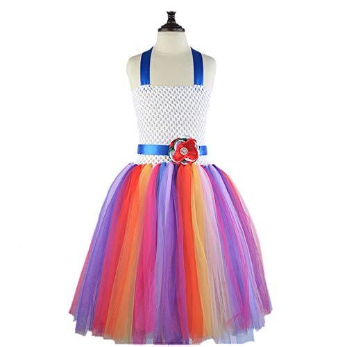 Manschettenknöpfe Mädchen Cosplay Abendkleid-Up Prinzessin Regenbogen Tüllrock Festmode Geburtstag Wettbewerb Karneval Halloween Kleid-Abschlussball-Ballkleid ( Color : Multi-colored , Size : 90 )