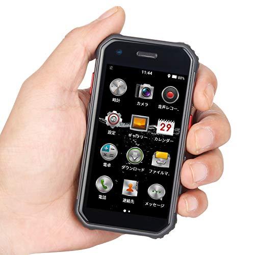 頑丈なミニスマートフォン 4G対応 デュアルSIMカード 超小型 3インチ サイズ Android スマートフォン 防塵 防水 タフネス設計 指紋認証 顔認証 (黒)