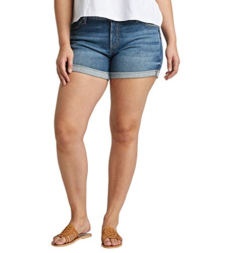 Silver Jeans Co. Women's Plus Size Boyfriend Mid Rise Short, Vintage Dark, 18W X 4.5L