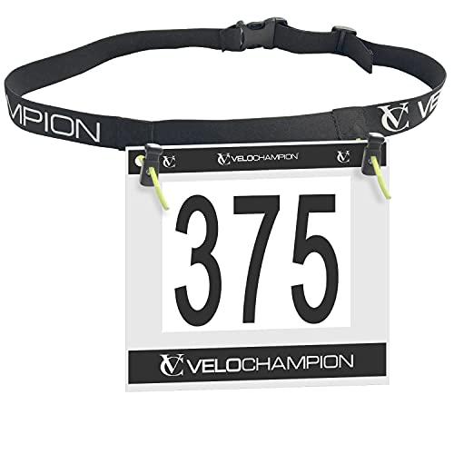 VeloChampion Running, Triathlon, Marathon Number Belt. No pins Needed. Adjustable Run Belt for Men & Women