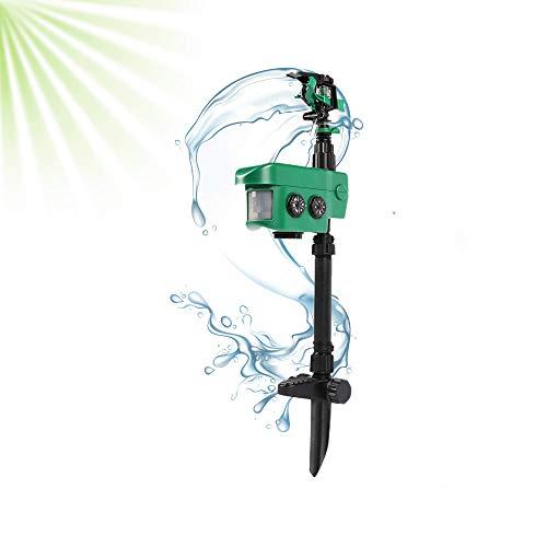 ISOTRONIC Deterrente per animali con getto d'acqua | Solare | Con rilevatore di movimento | Protezione contro gatti, cani e animali selvatici | Raggio d'azione di 10m