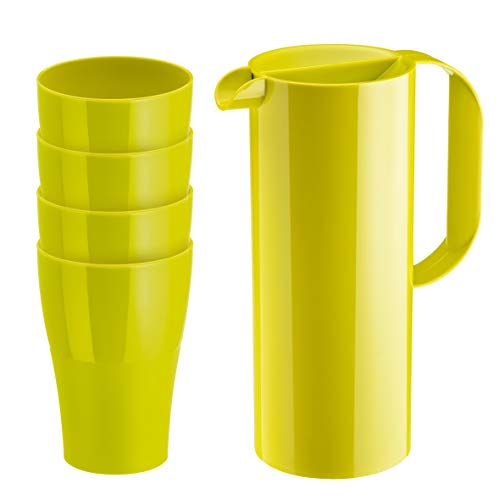 Koziol Rio & Roy Kanne 1,35 Liter und 4 Becher je 400 ml grün
