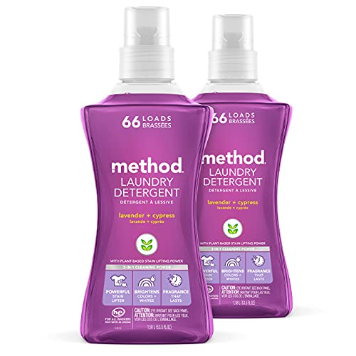 Method Laundry Detergent, Lavender + Cypress, 53.5 ounces, 66 loads, 2 pack, Packaging May Vary