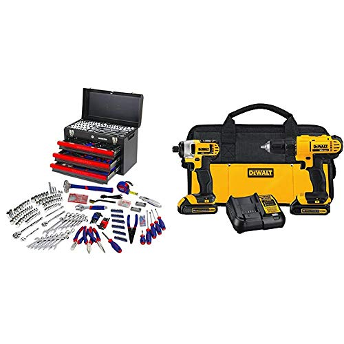 Juego de herramientas mecánicas con 3 cajones resistentes de metal (408 piezas) WORKPRO W009044A