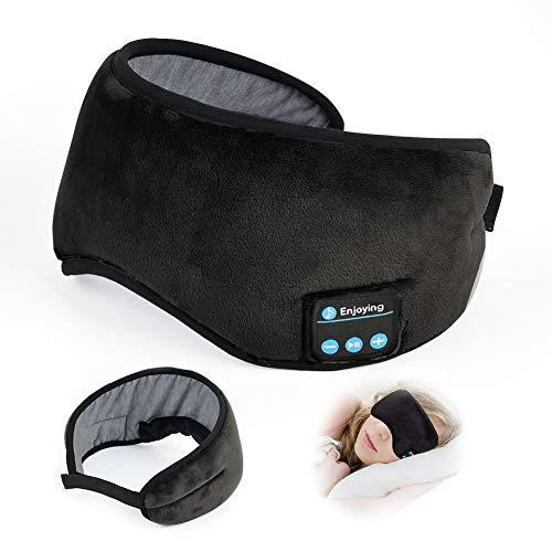 Auriculares Bluetooth 5.0 para dormir, antifaz para dormir, auriculares inalámbricos Bluetooth 5.0, ajustables y lavables, color negro