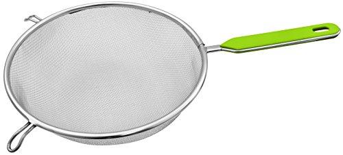 Fackelmann Sieb Ø 25 cm, Küchensieb aus Edelstahl, feinmaschiger Seiher mit Griffeinlage aus Kunststoff (Farbe: Grün/Silber), Menge: 1 Stück