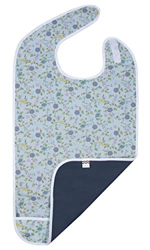 Adult Bib for Eating, Waterproof Clothing Protector with Crumb Catcher. Machine Washable, (Blue)