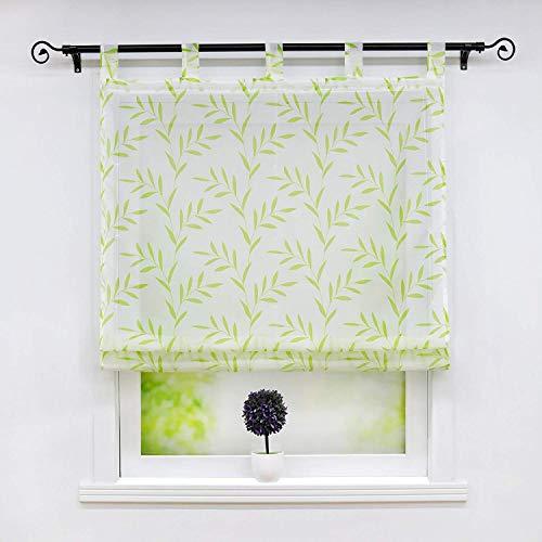 Pasen voile Romeinse blinde halo transparante bochten gordijn met bladeren patroon eenvoudige stijl Raquo Bärbel Laquo sjaals venster gordijnen Bxh 60X140Cm grijs 1er Pack