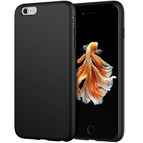 JETech Cover in Silicone Compatibile con iPhone 6s Plus/6 Plus 5,5 Pollici, Custodia Protettiva con Tutto Il Corpo Tocco Morbido Setoso, Cover Antiurto con Fodera in Microfibra, Nero