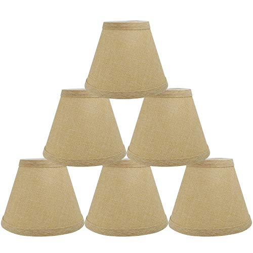 CROWNSTARQI Linen Lampshades Clip on Candle New Year Home Deco Lampshades Chandelier Lampshades,Fabric LampshadeS 5.5 inch 6PK Beige