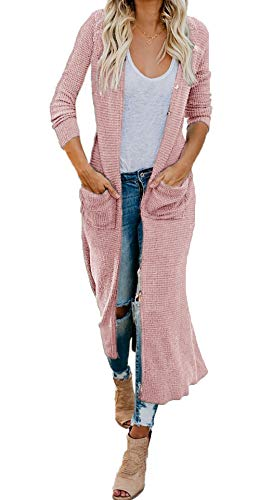HZSONNE Women's Boho Long Casual Cardigan Long Sleeve Button Down Front Pocket Knitted Sweater Blouses (Pink, X-Large)