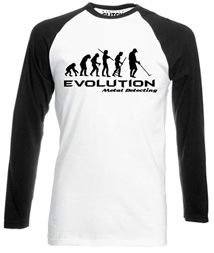 Reality Glitch Evolution of Metal Detector Mens Baseball Shirt - Long Sleeve (White/Black, S)