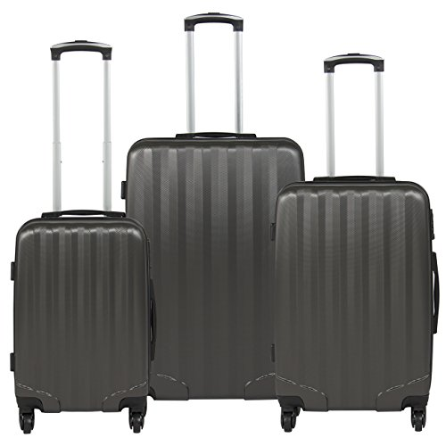 Best Choice Products Hardshell 3 Piece Luggage Set Spinner Travel Bag W/TSA Lock- Gray