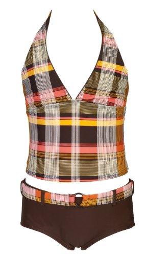 Olibia Mar - moderne meisjestankini in oranje/bruin met Panty-Short - Oeko-Tex® Standard 100