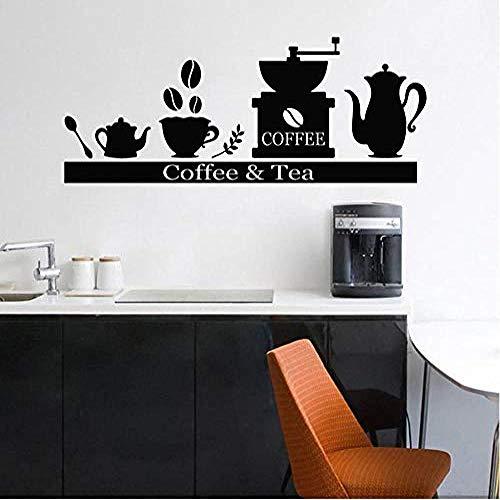 Etiqueta de la pared Contador Etiqueta de la pared Máquina de café Soporte para tazas de té Estante Vinilo Etiqueta de la pared Bar Cafe Cocina Decoración interior Mural creativo 42 * 104cm