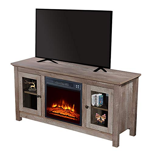 Fireplace TV Stand for TVs up to 55 Inches,TV Entertainment Center with Small Remote Control Movement,1400W Single Color/Fake Wood/Heating Wire,Grey Wash