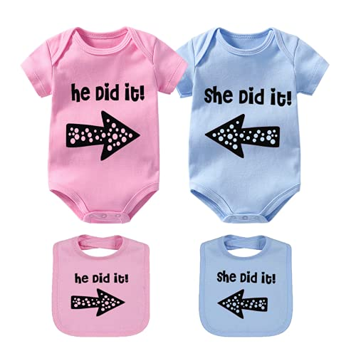 YSCULBUTOL Baby Twin Set He/She Did It Cotton Twins Outfit Infant Bodysuit with Bibs(Pink did 3M)