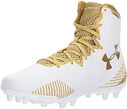 Under Armour Women's Lacrosse Highlight MC Shoe, White (100)/Metallic Gold, 7.5