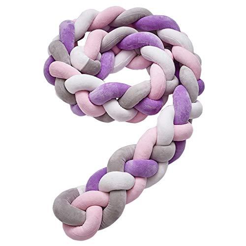 Cuatro hilos Protector Cuna Bebe Parachoques Cuna Longitud Protector de Trenzas Cojín de Serpiente para Decoración del Hogar(2 metros, púrpura-rosa-blanco-gris)