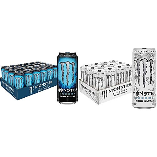 Monster Energy Zero Sugar, Low Calorie Energy Drink, 16 Ounce (Pack of 24) & Zero Ultra, Sugar Free Energy Drink, 10.5 Ounce (Pack of 12)