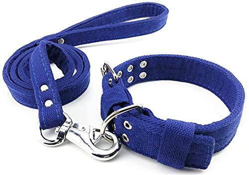 DHGTEP Collar De Perro De Algodón con Correa De Perro 1.2M para Perros Pequeños, Medianos Y Grandes, Cuatro Capas De Algodón Grueso para La Robustez Y Durabilidad (Color : Blue, Size : M)