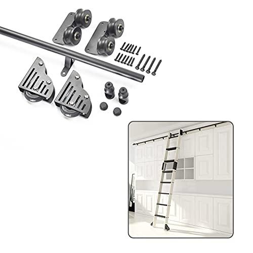 DTDMY Rolling Ladder Hardware Library Ladder Kit de Hardware Pista Redonda/Rail(sin Escalera) con Ruedas de Rodillos de Piso,Tubo Redondo de Acero Pista de Escalera móvil para Inicio/Indoor/Loft