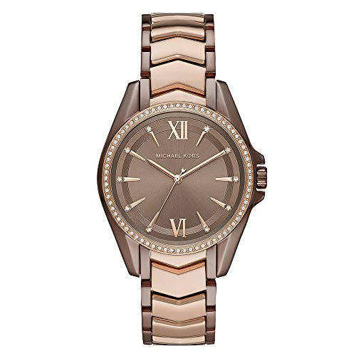 38mm case, 18mm band width, mineral crystal, Quartz movement with 3-hand analog display, imported.. Round stainless steel case, with a brown dial.. Two-Tone, stainless steel bracelet. Water resistant up to 50m: Wearable while swimming in shallow wate...