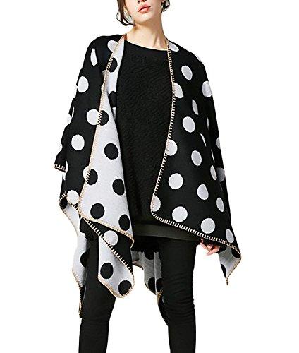 Mujer Poncho Elegantes Moda Vintage Talla Grande Chaqueta De Punto Otoño Invierno Termica Basic Chal De Sin Mangas Lunares Cardigan Outerwear Ropa
