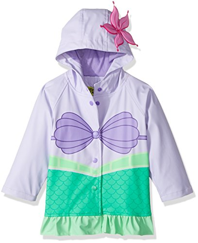 Western Chief Kids Disney Character lined Rain Jacket, Ariel Disney Princess, 6