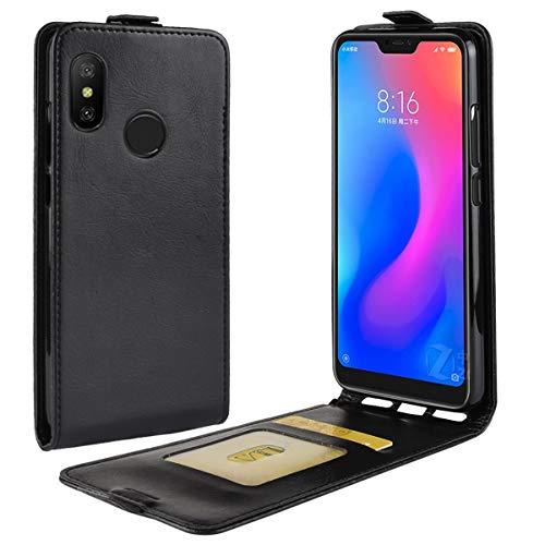 HualuBro Funda para Xiaomi Mi A2 Lite, Funda Libro de Protectora Cuero PU con Cartera Flip Cover Magnético Carcasa para Xiaomi Mi A2 Lite Case (Negro)