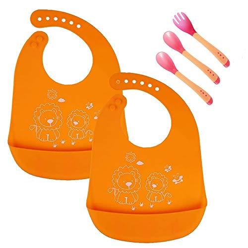 2PCS baberos de silicona a prueba de agua, cómodos y fáciles de limpiar Limpia, amplia comida Crumb colector de bolsillo baberos unisex para bebés menores de 6 años (naranja)