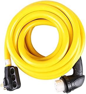 TREKPOWER RV Extension Cord(50AMP50FT Power Cable) for Outdoor use(Truck/Trailer/Motorhome/Camper) with Power Grip Plug and Twist Lock 90 Degree Receptacle (3C/6AWG+1C/8AWG)SJTW,(14-50P) to (SS2-50R)