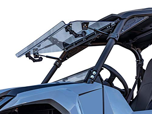 SuperATV Scratch Resistant Flip Windshield for 2021+ Yamaha Wolverine RMAX 2 | Can be Set to 3 Different Settings | 1/4' Thick Polycarbonate that is 250 Times Stronger than Glass!
