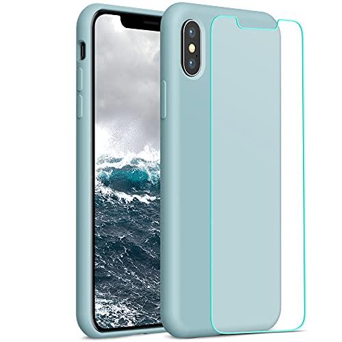YATWIN Compatibile con Cover iPhone X 5,8'', Compatibile con Cover iPhone XS Silicone Liquido + Vetro Temperato, Protezione Completa del Corpo con Fodera in Microfibra, Ciano Chiaro