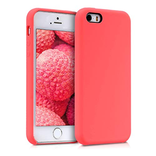 kwmobile Funda Compatible con Apple iPhone SE (1.Gen 2016) / 5 / 5S - Carcasa de TPU para móvil - Cover Trasero en Coral neón