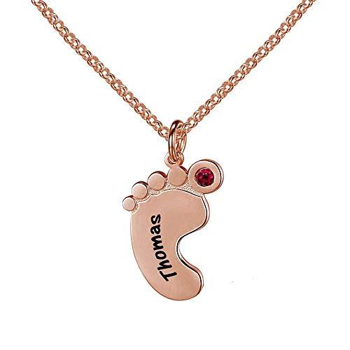 nisake Collar de pie de bebé recién Nacido Personalizado Nombre Grabado Collares de Piedra de Nacimiento Colgante de Encanto Regalo de joyería Conmemorativa para Madre