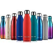 cmxing Doppelwandige Thermosflasche 500 mL / 750 mL mit Tasche BPA-Frei Edelstahl Trinkflasche Vakuum Isolierflasche (Dunkel Rot, 500 mL)