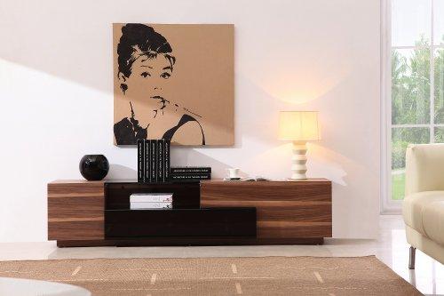 J&M Furniture TV Stand 015 in Walnut & Black High Gloss