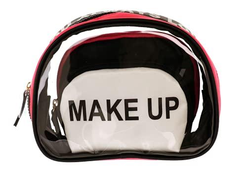 Camomilla Juego 3 Estuches De Maquillaje, Bolsa De Maquillaje, Neceser De Maquillaje, Colección Always Love, Color Transparente + Blanco + Negro