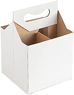 12 Oz Cardboard 4 Pack Beer Bottle Carrier White Weather Proof!4 Per Order