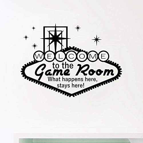 Bienvenido a la sala de juegos Decoración Casino Wall Art Decals Gaming Vinyl Sticker Moderno Home Gamble Poster Mural Wall Art Decoration 56 * 40 CM
